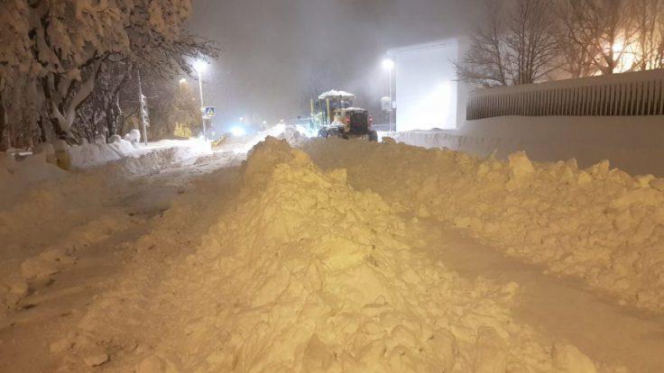 Snow in Akureyri.