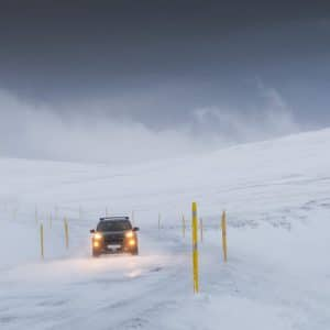 Driving in the snow in Iceland