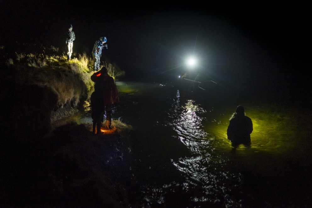 Biologist Jóhannes Sturlaugsson spent a night inspecting every fish in the river.
