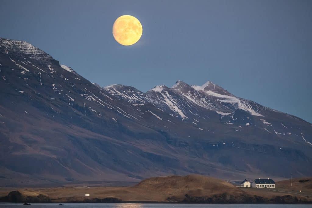 moon over Esja mountain
