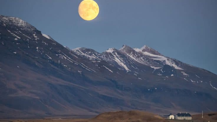 moon over Esja mountain