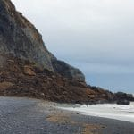 Large Rockslide in Reynisfjara Beach