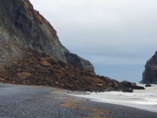 Large Rockslide in Reynisfjara Beach