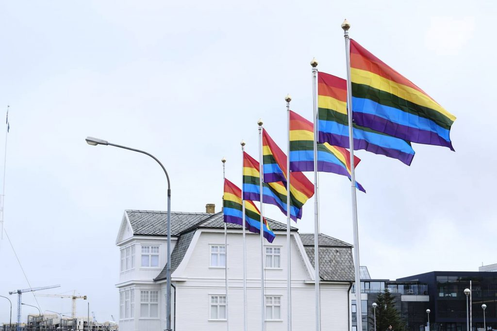 Rainbow flags Höfði