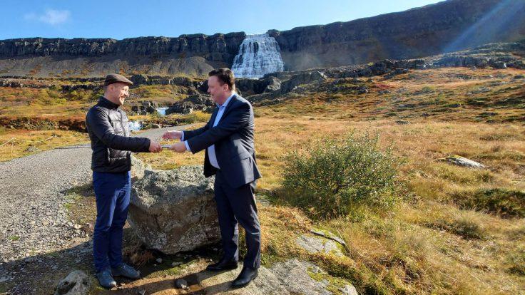 Guðmundur Ingi Guðbrandsson and Birkir Jón Jónsson by Dynjandi waterfall.