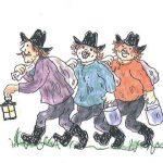 The three robbers of Cardamom Town, Kasper, Jesper and Jonatan.