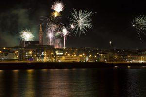Fireworks Exploding over Reykjavík