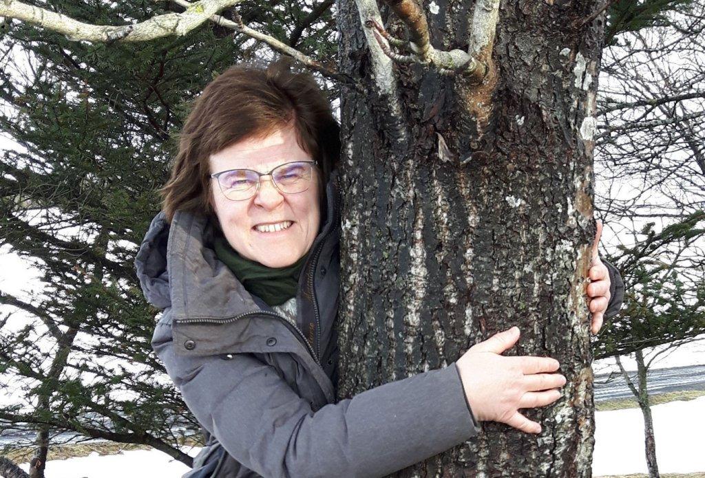 "Photo: ""Valgerður Erling and a Southern poplar"" via skogur.is"