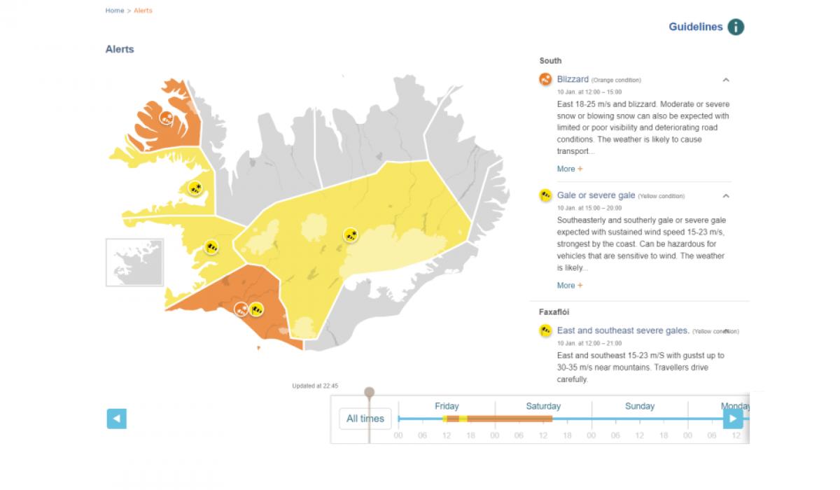 The Icelandic Met Office issues yellow weather alert