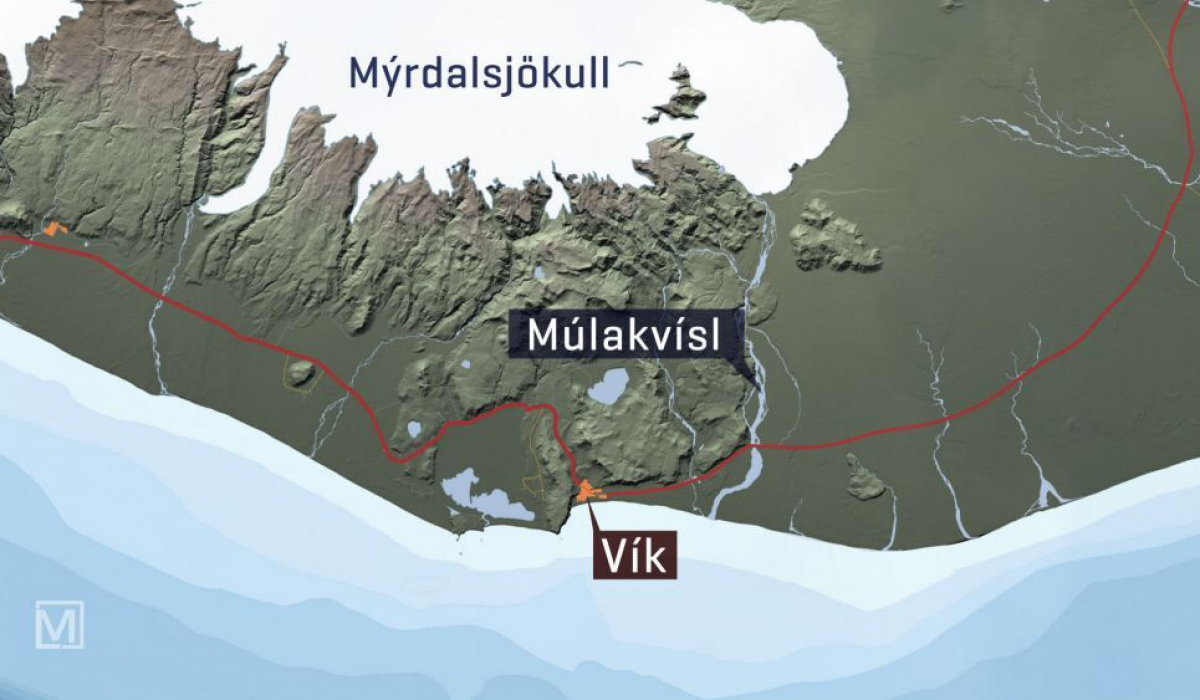 Part of Route 1 in South Iceland. The bridge across Múlakvísl river could be closed by authorities.